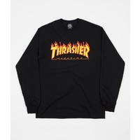THRASHER FLAME LOGO LONG SLEEVE T-SHIRT BLACK NEW TEE NEW