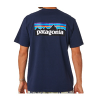 Patagonia Men's P-6 Logo Cotton T-Shirt NAVY BLUE TEE TSHIRT  38906