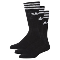 ADIDAS SOLID CREW SOCKS BLACK SOCK 3 pack US MENS SIZE 9-11.5 SOX NEW