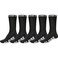 GLOBE BLACKOUT CREW SOCKS 5 PACK BLACK SKATEBOARD SURF MENS SIZE 7 - 11