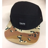 Kingpin Supply 5 Panel Black Hat New Cap Skate Free Post Aus Desert Camo