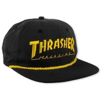 Thrasher Rope 6 Panel Hat Black Yellow Cap Skate Free Postage Australian Seller