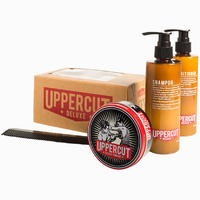 Uppercut Deluxe Combo Gift Set Mens Hair Pomade Shampoo Conditioner and Comb