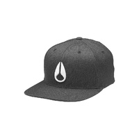 NIXON DEEP DOWN FF ATHLETIC FIT HAT BLACK HEATHER WHITE FLEXFIT CAP FREE POSTAGE