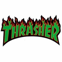 THRASHER SKATEBOARD MAGAZINE FLAME STICKER GREEN NEW AUSTRALIAN SELLER KINGPIN