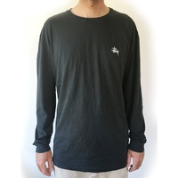 STUSSY BASIC PIGMENT LONG SLEEVE TEE BLACK T-SHIRTS NEW LS AUST SELLER