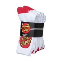 SANTA CRUZ Socks 4 Pack White Crew Size MENS 7 - 11 New Mens Skateboard SALE