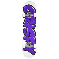 "CRISPY COMPLETE SKATEBOARD BEGINNER 7.9"" WHITE / PURPLE AUST SELLER NEW"