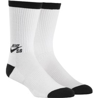 NIKE SB DRI FIT CREW SOCKS 3 PACK WHITE MENS SKATEBOARD AUSTRALIAN SELLER