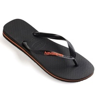 HAVAIANAS  Rubber Logo Black / Orange Neon MALE Thongs Sandals Male Flip Flops