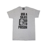 THRASHER USE A SKATE GO TO PRISON TEE GREY T-SHIRT