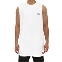 STUSSY BASIC TALL MUSCLE TEE ST051105 WHITE T-SHIRTS SKATE NEW FREE POST