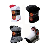 SANTA CRUZ SOCKS 4 PACK BLACK GREY MULTI AUSTRALIAN SELLER KINGPIN