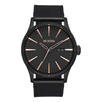 NIXON Sentry Leather All Black Rose Gold WATCH NEW A105 957 AUST SELLER