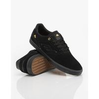 EMERICA SHOES REYNOLDS LOW VULC BLACK / GOLD KINGPIN SKATEBOARD SUPPLY AUS