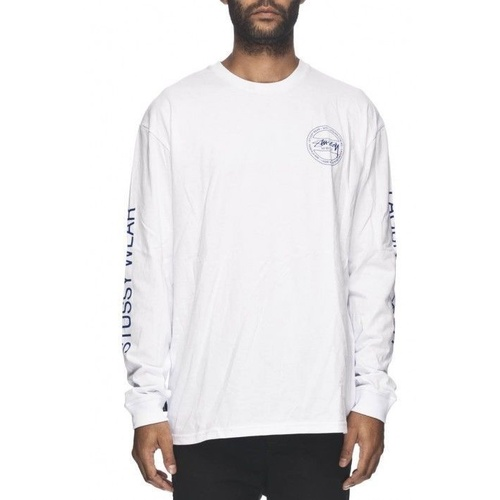 STUSSY ADDRESS CM LS WHITE LONG SLEEVE TEE T-SHIRTS SKATEBOARD NEW