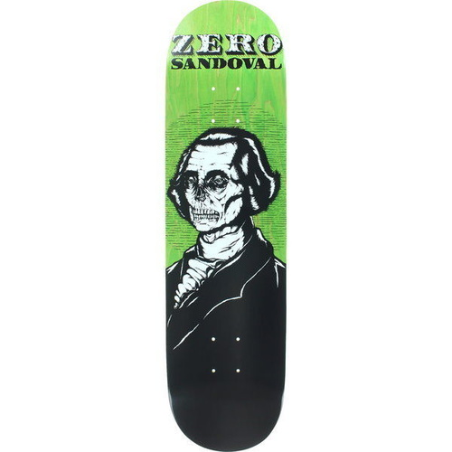 "ZERO SKATEBOARDS SANDOVAL DEAD PRESIDENTS 8.125"" SKATEBOARD DECK FREE GRIP"