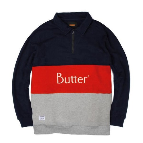 BUTTER GOODS CLASSIC 1/4 ZIP, NAVY / RED New Skate Aus Buttergoods KINGPINSTORE