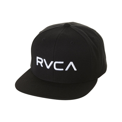 RVCA TWILL CAP BLACK / WHITE SNAP BACK RUCA HAT CAP SNAPBACK NEW YUPOONG