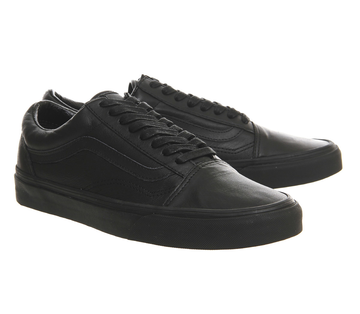 vans shoes old skool black leather us size school work. Black Bedroom Furniture Sets. Home Design Ideas