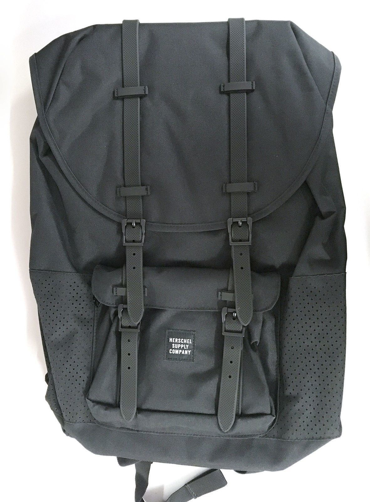 bbed391bebd HERSCHEL LITTLE AMERICA BLACK   BLACK MESH RUBBER ASPECT BACKPACK BACK  PACKS BAG