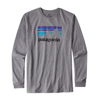 Patagonia Men's SHOP STICKER LONG SLEEVE T-Shirt Gravel Heather TEE GREY