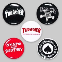 THRASHER SKATEBOARD MAG Logo Buttons (5 Pack)