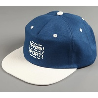 PASS~PORT Messy Logo 6 Panel Cap Hat FRENCH NAVY BLUE / NATURAL OSFM Pass Port Passport