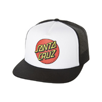 SANTA CRUZ YOUTH BOYS CLASSIC DOT BLACK WHITE TRUCKER BLACK HAT CAP SKATE SURF FREE POSTAGE AUSTRALIAN