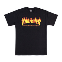 Thrasher Flame T-Shirt Tee New Black Skate Shop Aust Seller Thrasher Mag 110103S