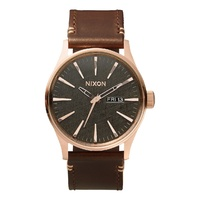 NIXON Sentry LEATHER Rose Gold / Gun Metal Brown WATCH AUST SELLER WATCHES