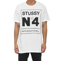 STUSSY BOXED no4 CUSTOM MADE TEE TEE WHITE T-SHIRTS SKATE NEW FREE POST ST057001