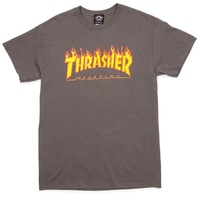 THRASHER FLAME TEE CHARCOAL T-SHIRT FREE POSTAGE AUSTRALIAN SELLER