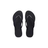 HAVAIANAS SLIM BASIC BLACK Thongs Sandals WOMENS FREE POST Flip Flops HSBS0090F