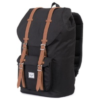 HERSCHEL LITTLE AMERICA BLACK / TAN SYNTHETIC LEATHER BACKPACK BACK PACKS BAG