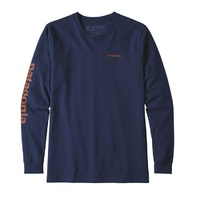 Patagonia Men's Long-Sleeved Text Logo Cotton / Poly Responsibili-Tee TEE NAVY