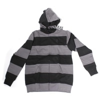 JUICE CLOTHING STRIPED HOODED FLEECE BLACK /  GREY PULLOVER AUST SELLER HOODY