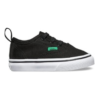 Vans Shoes Tots Authentic V Lace BLACK / KELLY GREEN Children Toddler Boys NEW