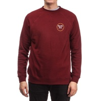 BRIXTON WHEELER CREW NECK FLEECE MAROON NEW FREE POSTAGE AUST SELLER