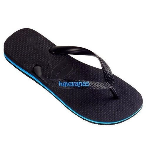 HAVAIANAS  Rubber Logo Black / Blue MALE Thongs Sandals Male Flip Flops