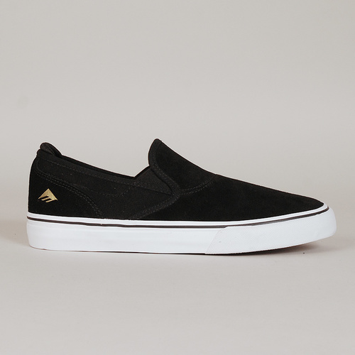 EMERICA SHOES WINO G6 SLIP ON BLACK WHITE GOLD SKATEBOARD FOOTWEAR [SIZE: US 7]